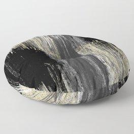 Abstract modern black gray gold glitter brushstrokes Floor Pillow