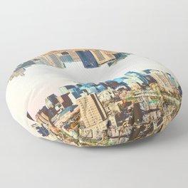Skylines of Twin Cities | Minneapolis and Saint Paul Minnesota Floor Pillow
