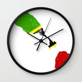 Distressed Saint Kitts and Nevis Map Wall Clock