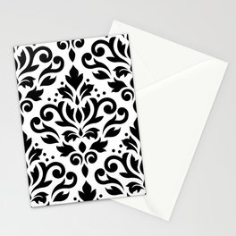Scroll Damask Large Pattern Black on White Stationery Cards
