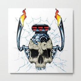 Engine On Skull Metal Print