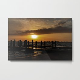 Sunset on the Pier Metal Print