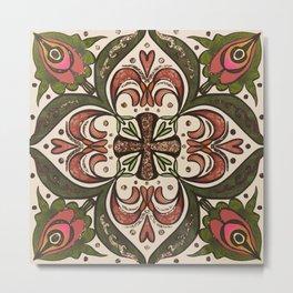Tile Design Peacock Corners Metal Print