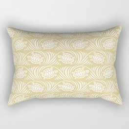 Turtles in the ocean, sandy color marine print Rectangular Pillow