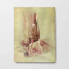 Wine Rose and Pearls Still Life Kitchen Art Modern Cottage Art A434 Metal Print