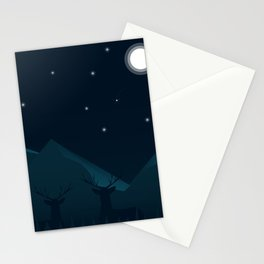 The impressive moon rise with deer can be an impressive sight. Stationery Cards