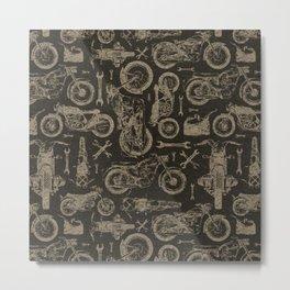 Dark Vintage Motorcycle Pattern Metal Print
