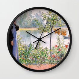 Karin By The Shore - Carl Larsson Wall Clock