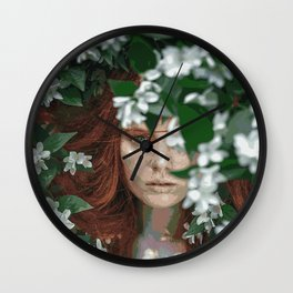 Meadow Girl (Floral Boho Art) #zala02creations #society6 Wall Clock