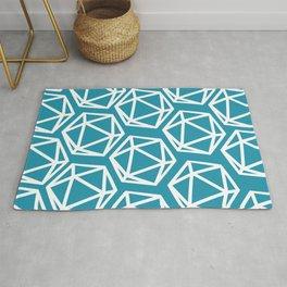 D20 Pattern - Blue White Rug
