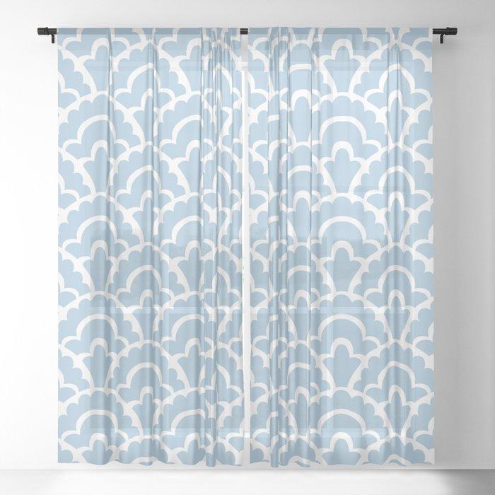 Fan Pattern Light Blue 110 Sheer, Sheer Patterned Curtains Uk
