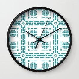 Mediterranean Pattern 5 - Tile Pattern Designs - Geometric - Blue - Ceramic Tile - Surface Pattern Wall Clock