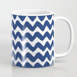 Navy Brushstroke Chevron Pattern Coffee Mug