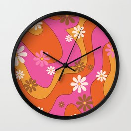 Groovy 60's and 70's Flower Power Pattern Wall Clock