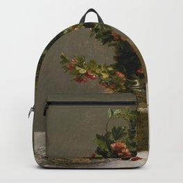 Henri Fantin Latour - Still Life With Vase Of Hawthorn Backpack
