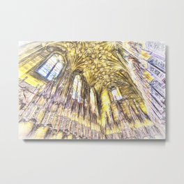 Edinburgh Cathedral Sketch Art Metal Print
