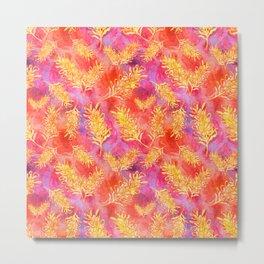Watercolour Australian Native Floral Print - Grevillea Flowers Metal Print