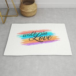 Inspirational Walk in Love Bible Verse Valentine Quote Rug