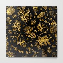 Botanicals - Gold and Black Pattern Metal Print