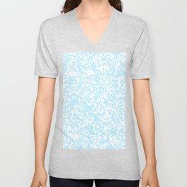 Small Spots - White and Light Blue Unisex V-Neck