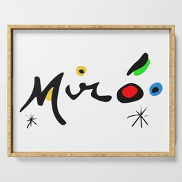 Joan Miro Colorful Signature Artwork for Prints Posters Tshirts Bags Women Men and Kids Serving Tray