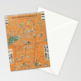 Vintage Map of Mexico City (Mexico) Stationery Cards