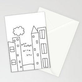 New York, Paris, Anywhere With You - City Landscape Illustration Humor Quote Love Stationery Cards