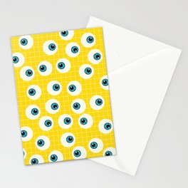 Cute Blue Eyes on Yellow Background Stationery Cards