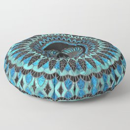 Egyptian Scarab Beetle - Gold and Blue glass Floor Pillow