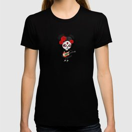 Day of the Dead Girl Playing Lebanese Flag Guitar T-shirt