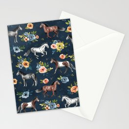 Wild Horses, Horse and Floral Print, Navy Blue, Watercolor Painting, Illustrated Horses, Flowers,  Stationery Cards