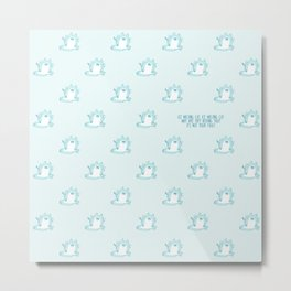 Kawaii Ice melting cat pattern Metal Print