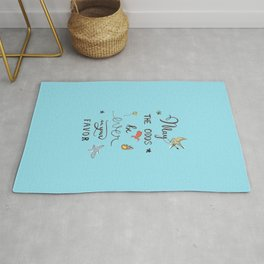 Hunger Game quality calligraphy - light blue Rug