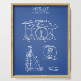 Drum set blue patent Serving Tray