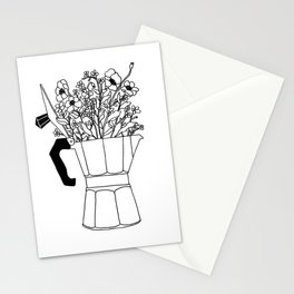 Moka Flowers - Coffee- BW Stationery Cards
