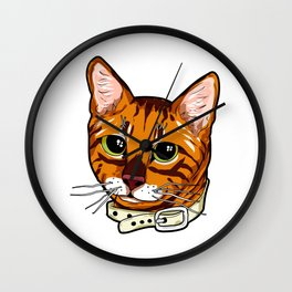 Toyger Cat face Cats orange cute funny gift comic Wall Clock