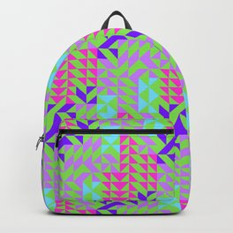Geometrical pink lilac teal green abstract triangles Backpack