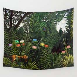Jungle with Tiger and Hunters by Henri Rousseau Wall Tapestry