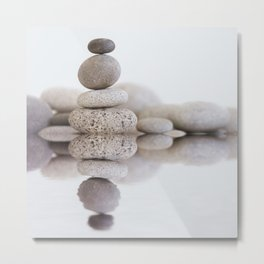 Stone Balance pebble cairn and water Metal Print