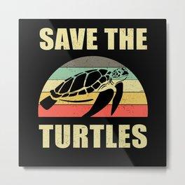 Save The Turtles Pollution Metal Print
