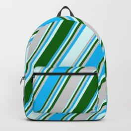 Deep Sky Blue, Light Cyan, Dark Green & Light Gray Colored Lines Pattern Backpack