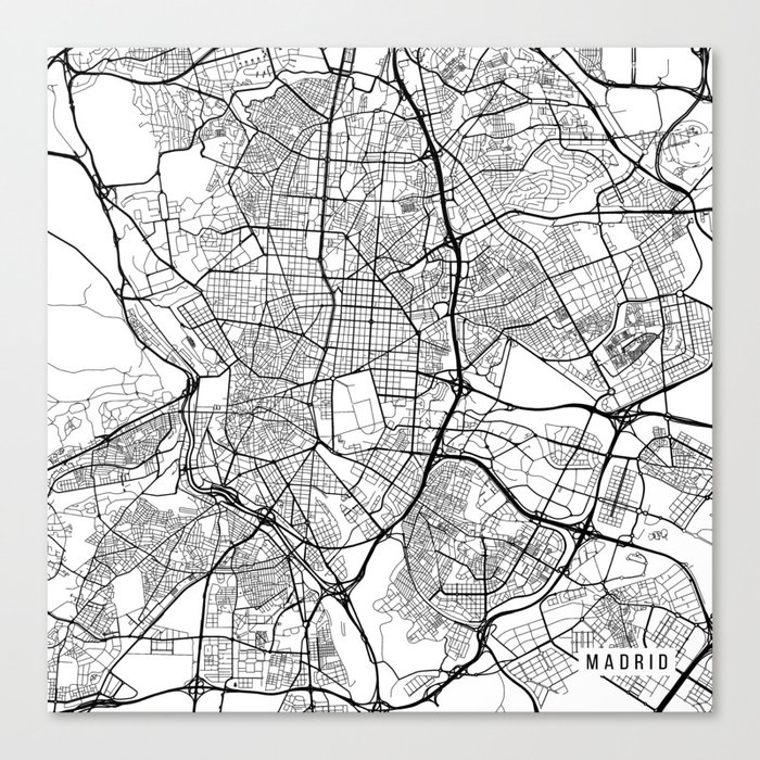 Madrid Map Spain Black And White Canvas Print By Mainstreetmaps Society6