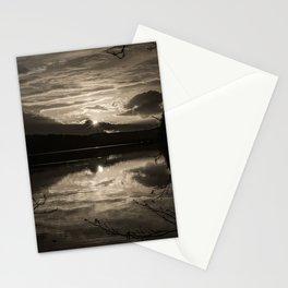 Sundown At Lake Heve 5 sepia Stationery Cards