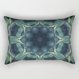Mystical // Dark Green Plant Visionary Art Mandala Ayahuasca Sacred Geometry Psychedelic Trippy Rectangular Pillow