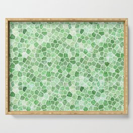Pale Emerald and Pistachio Cobbled Patchwork Serving Tray