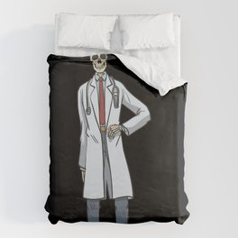 Skeleton in doctor's smock with headlamp Duvet Cover