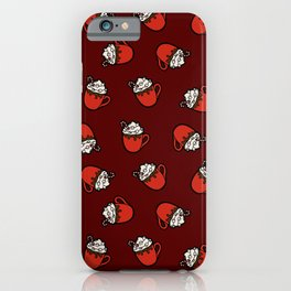 Festive Hot Cocoa Pattern on Dark Red iPhone Case