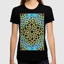 Chic Artistic Victorian Golden Trim Aqua Background  T-shirt