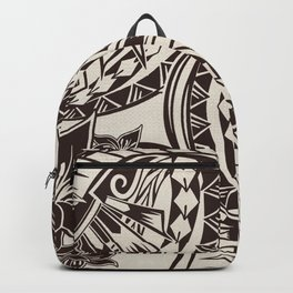 Hawaiian - Samoan - Polynesian Charcoal Brown Tribal Tattoos Backpack