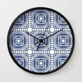 Mediterranean Pattern 1 - Tile Pattern Designs - Geometric - Blue - Ceramic Tile - Surface Pattern Wall Clock